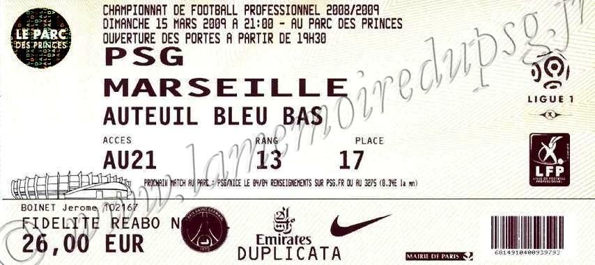 2009-03-15  PSG-Marseille (28ème L1)