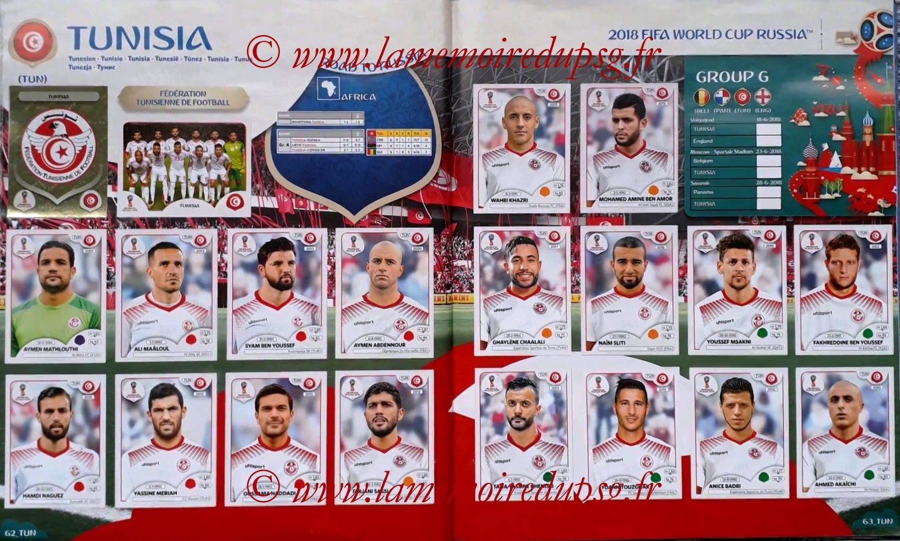 2018 - Panini FIFA World Cup Russia Stickers - Pages 62 et 63 - Tunisie