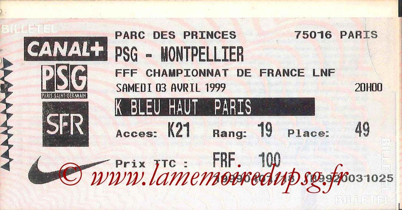 1999-04-03  PSG-Montpellier (28ème D1, Billetel)