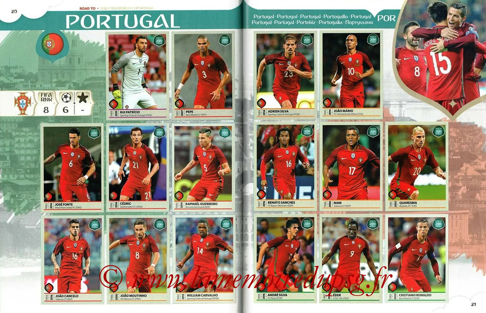 2018 - Panini Road to FIFA World Cup Russia Stickers - Pages 20 et 21 - Portugal