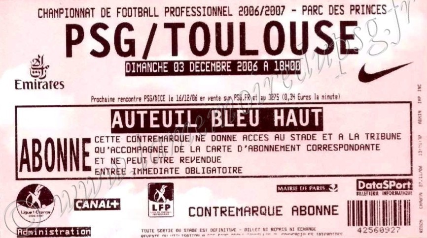 2006-12-03  PSG-Toulouse (16ème L1, match remis)
