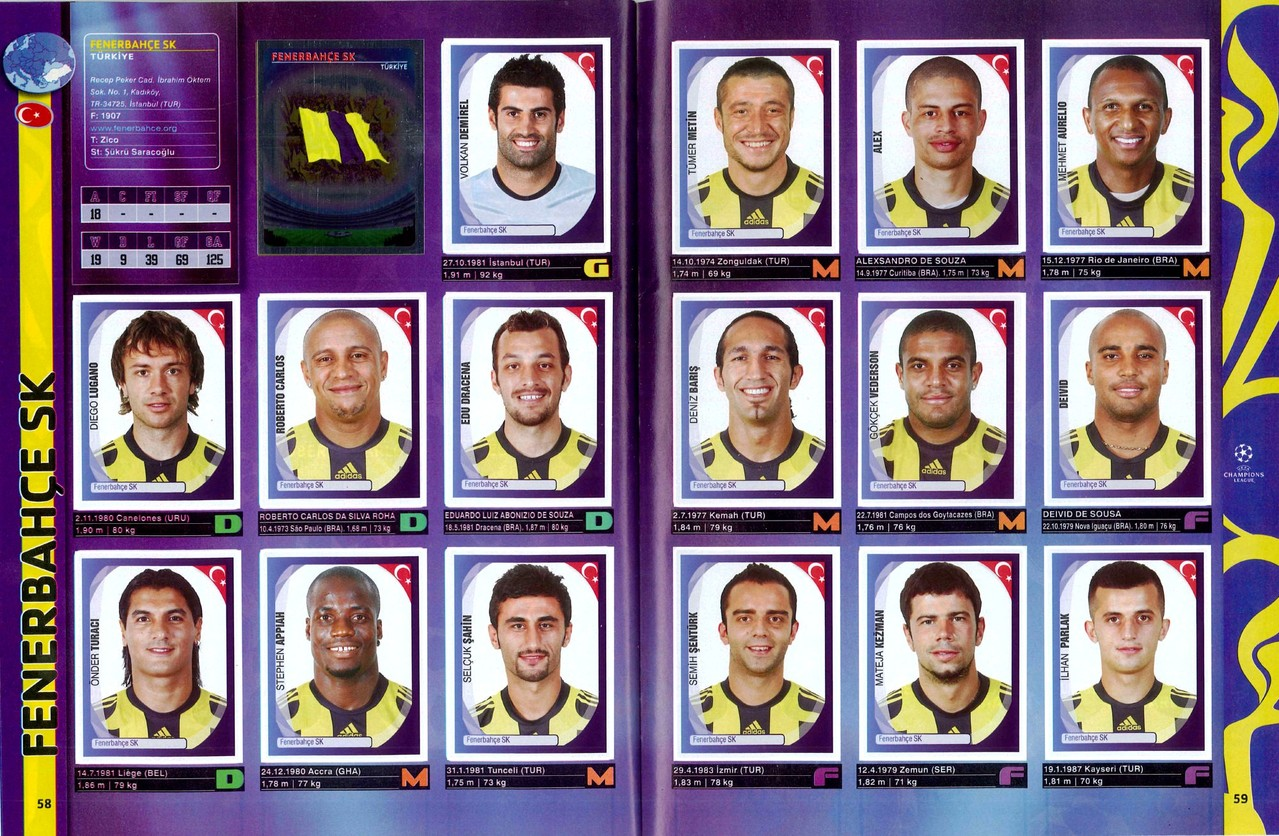 2007-08 - Panini Champions League - Pages 58 et 59 - Fenerbahce SK