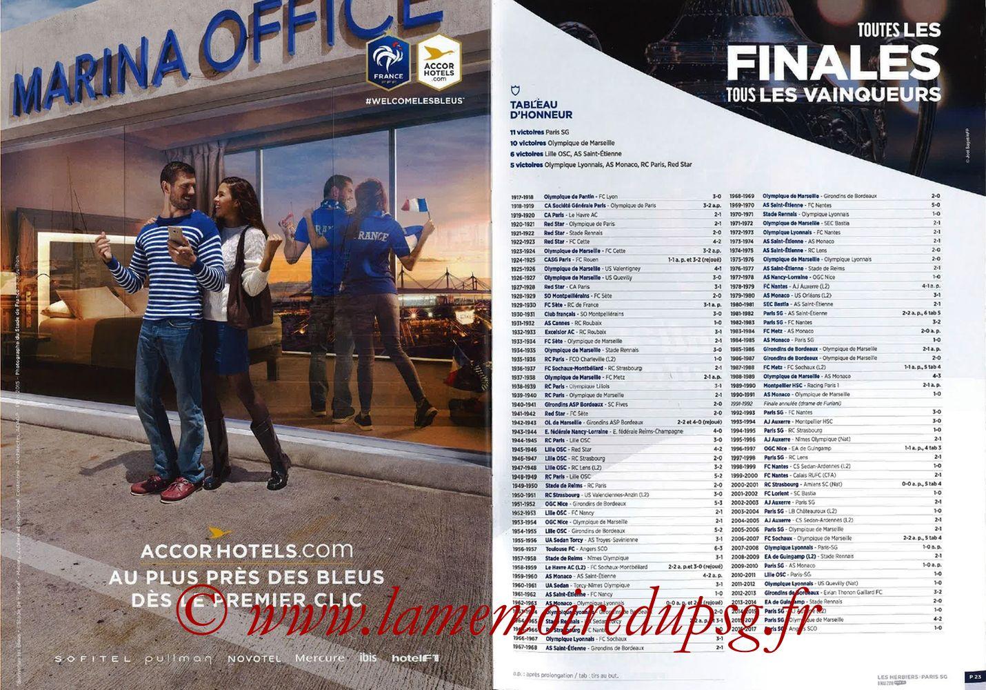 2018-05-08  Les Herbiers-PSG (Finale CF à Saint-Denis, Programme officiel FFF) - Pages 22 et 23