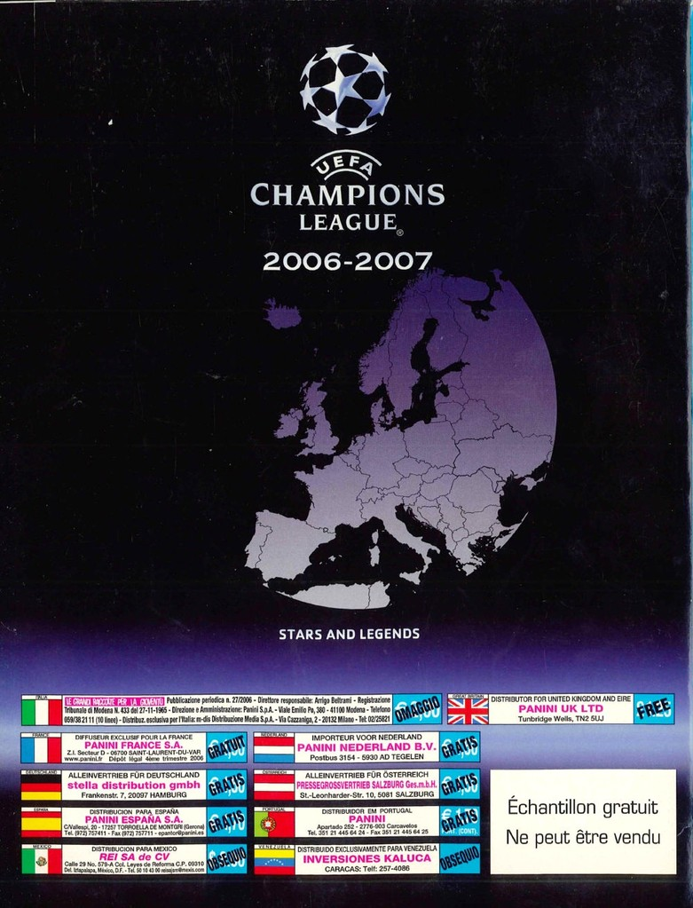2006-07 - Panini Champions League - Dos de l'album