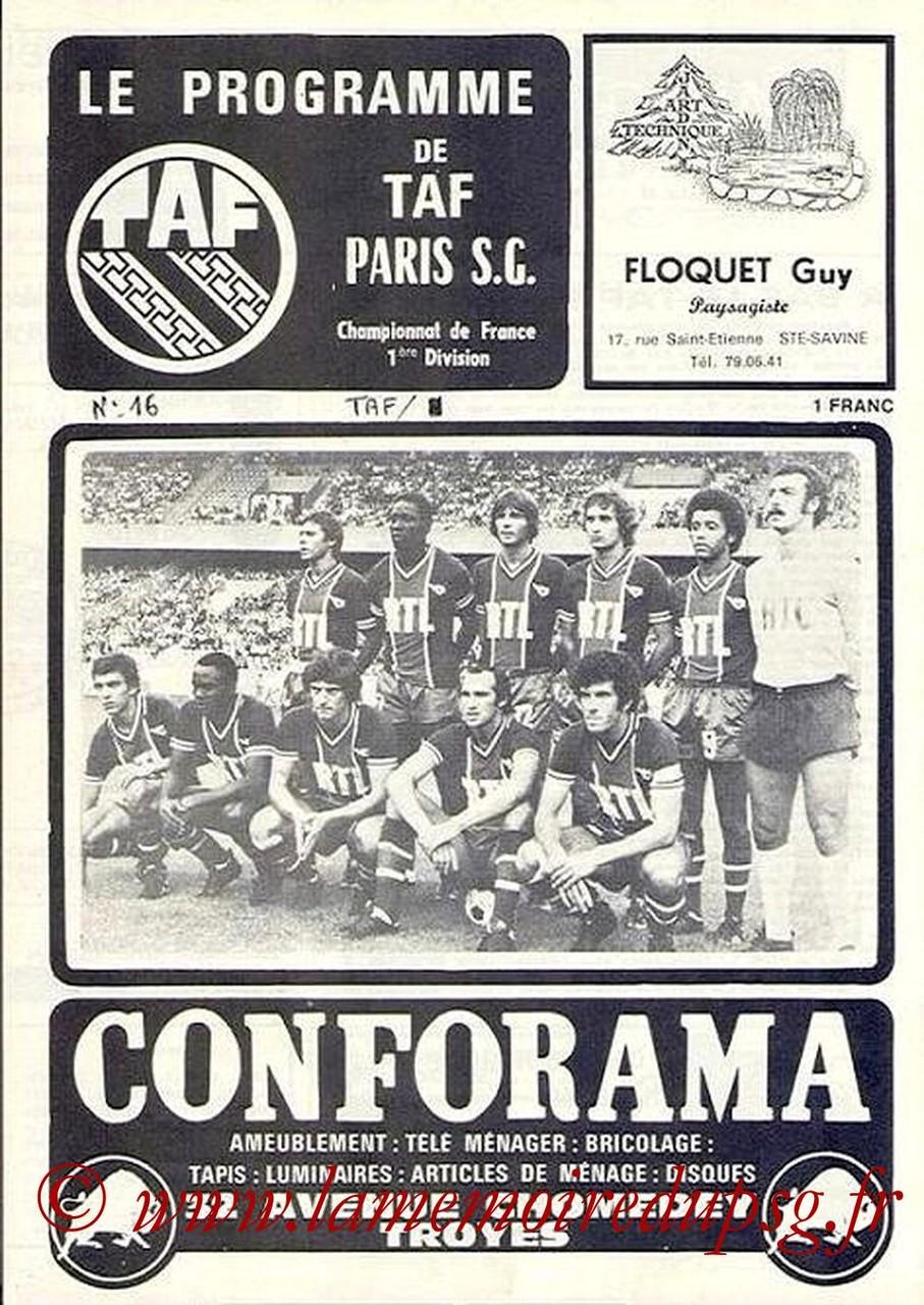 1978-03-04  Troyes-PSG (30ème D1, Le programme de TAF N°16)
