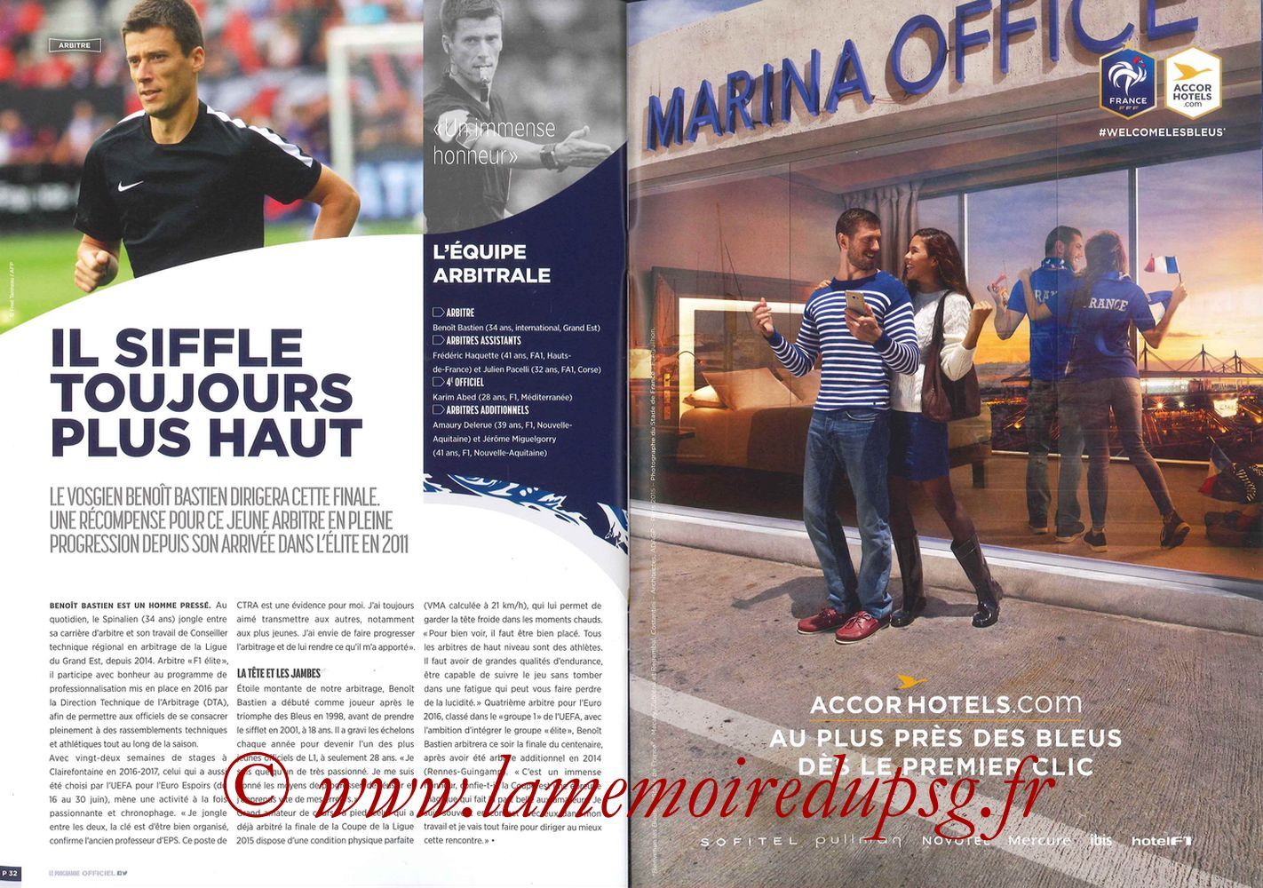 2017-05-27  Angers-PSG (Finale CF à Saint-Denis, Programme officiel) - Pages 32 et 33