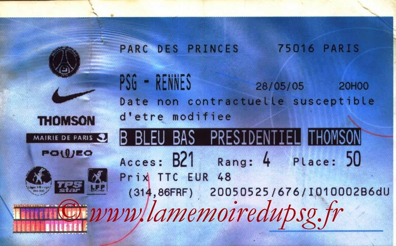 2005-05-28  PSG-Rennes (38ème L1, Billetel)
