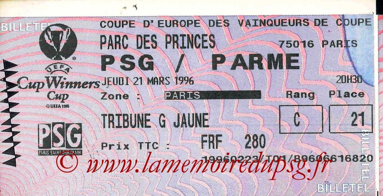 1996-03-21  PSG-Parme (Quart Finale Retour C2, Billetel)