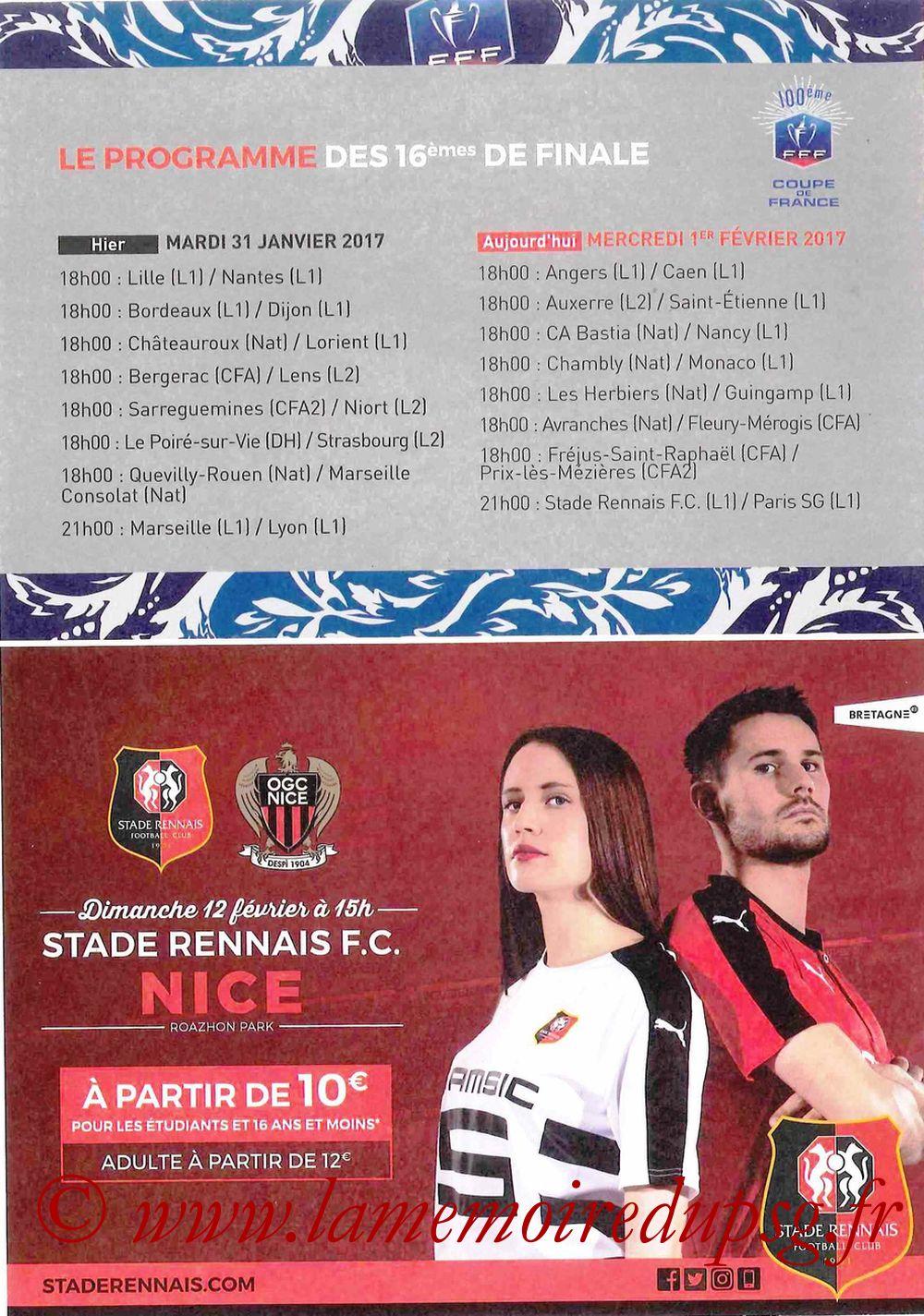 2017-02-01  Rennes-PSG (16ème CF, Programme officiel) - Page 4