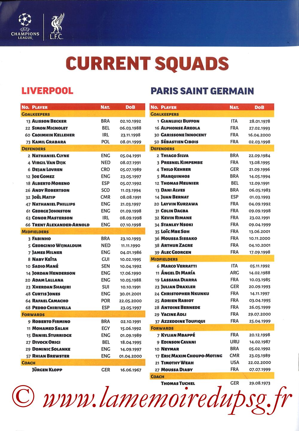 2018-09-18  Liverpool-PSG (1ère C1, Programme pirate) - Page 12