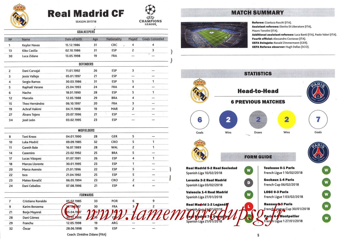 2018-02-14  Real Madrid-PSG (8ème C1 aller, Programme pirate) - Pages 04 et 05