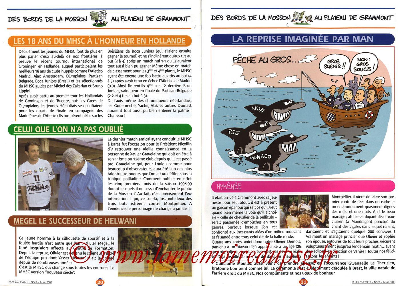 2003-08-30  Montpellier-PSG (5ème L1, MHSC Foot N°73) - Pages 20 et 21