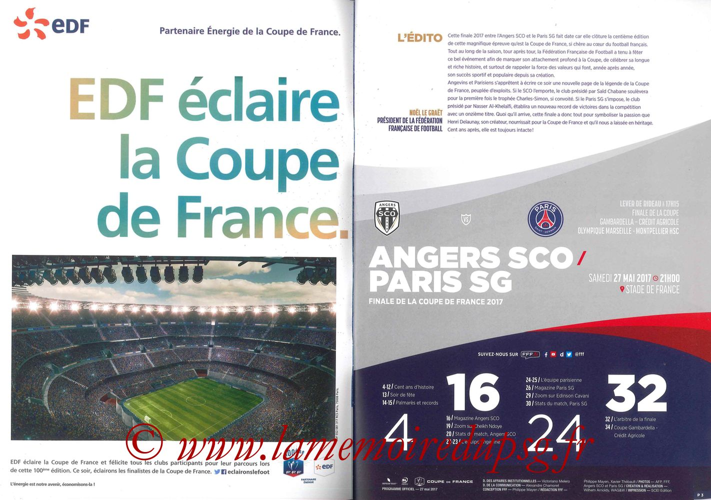 2017-05-27  Angers-PSG (Finale CF à Saint-Denis, Programme officiel) - Pages 02 et 03