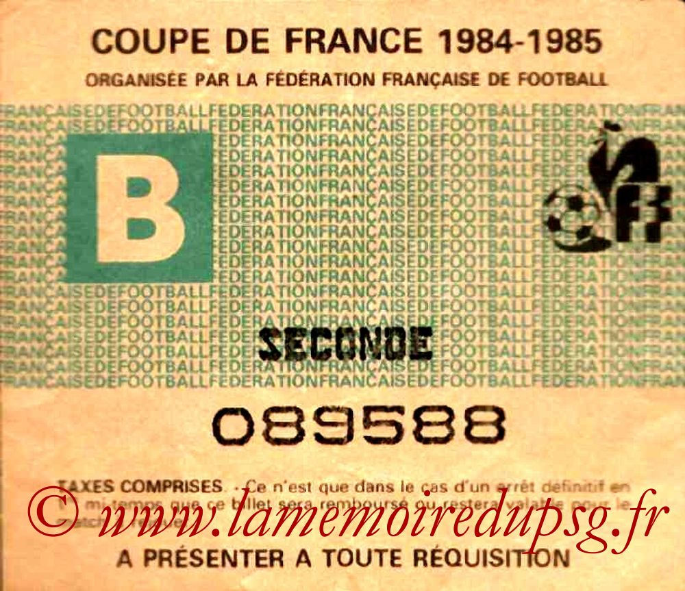 Ticket  Nantes-PSG  1984-85