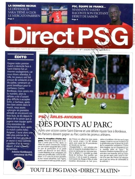 2010-09-10  PSG-Arles Avignon (5ème L1, Direct PSG N°1)