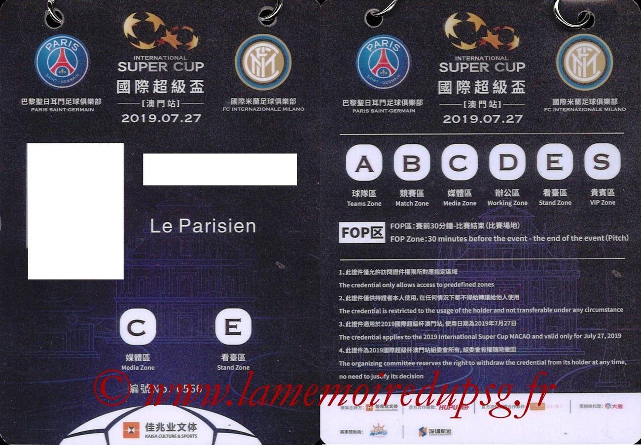 2019-07-27  PSG-Inter (International Super Cup à Macau, Badge Presse)