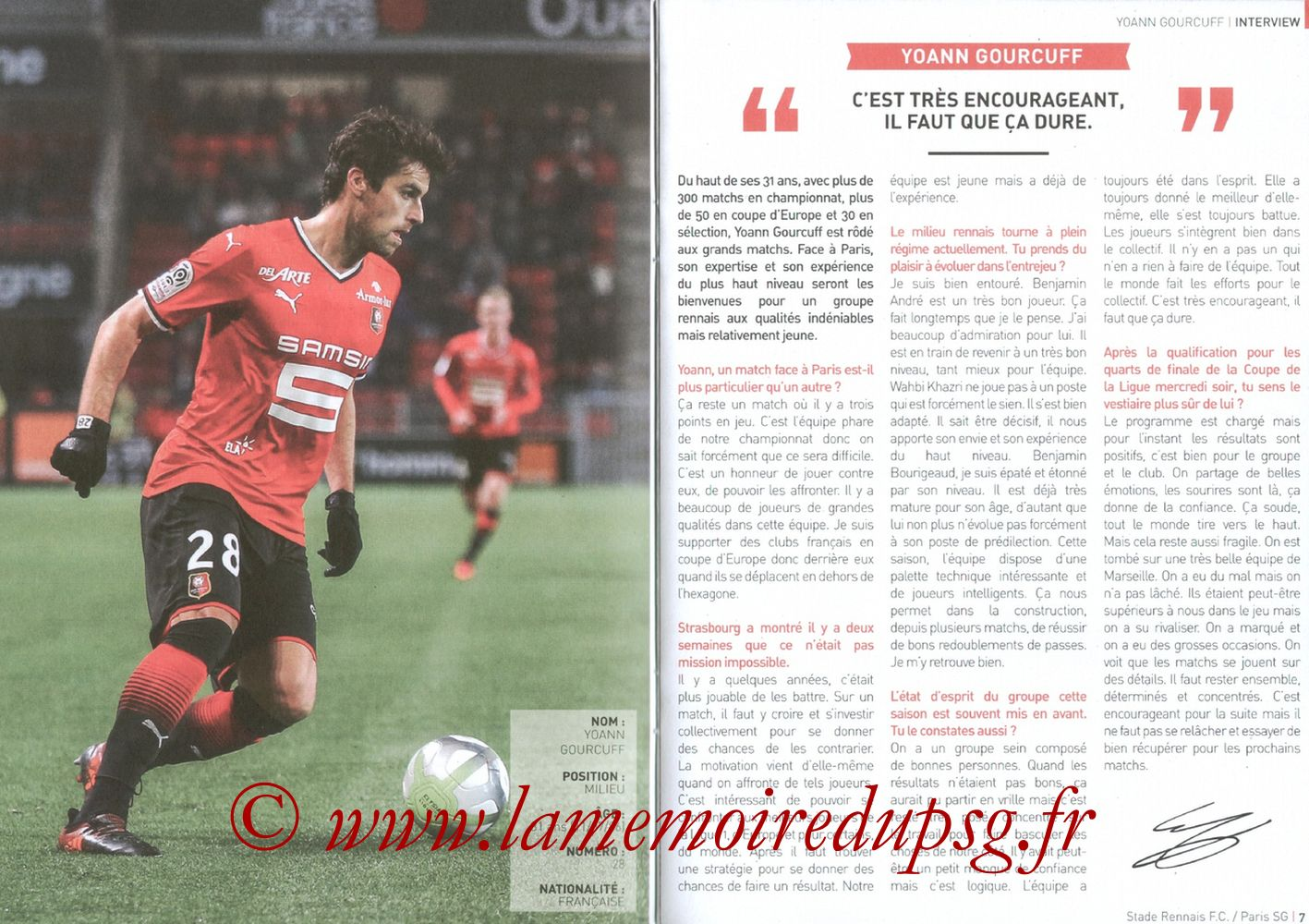 2017-12-16  Rennes-PSG (18ème L1, Le Programme de match) - Pages 06 et 07