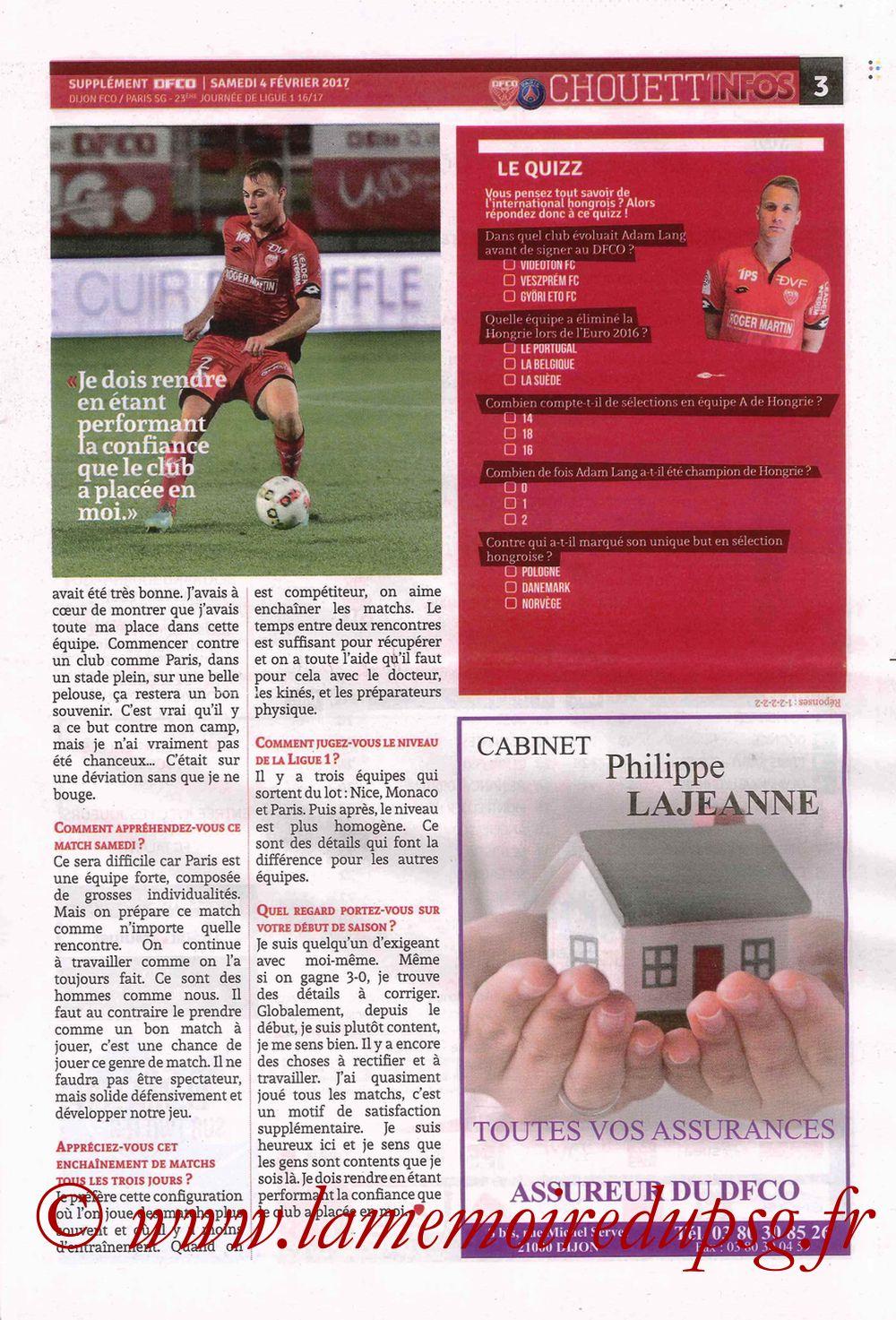 2017-02-04  Dijon-PSG (23ème L1, Chouett' Info N°12) - Page 3