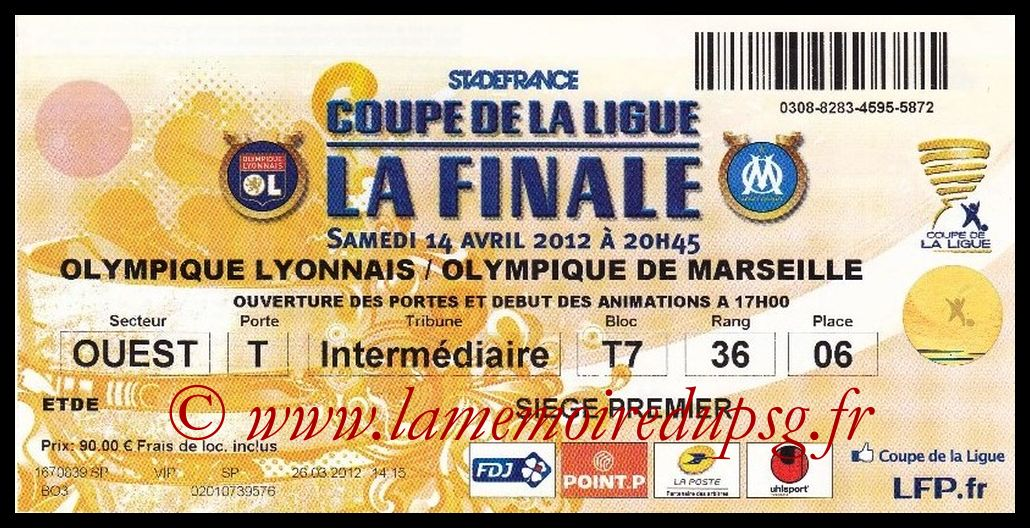 Ticket Finale CL N° 18 - 2012-04-14 - Lyon-Marseille (Stade de France)