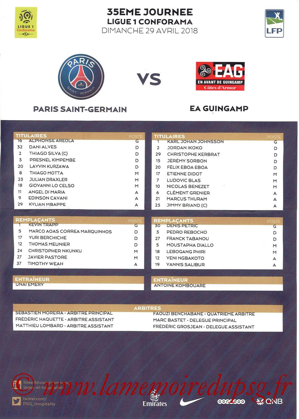2018-04-29  PSG-Guingamp (35ème L1, Feuille de match)