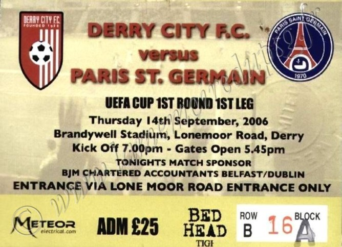 2006-09-14  Derry City FC-PSG (64ème finale Aller C3, bis)