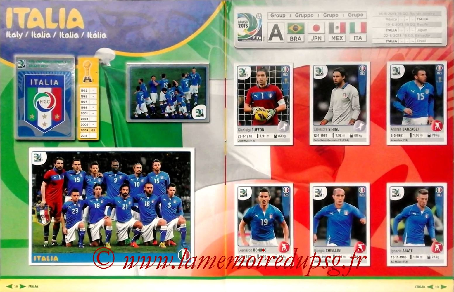 2013 - Panini Confederations Cup Brasil Stickers - Pages 18 et 19 - Italie