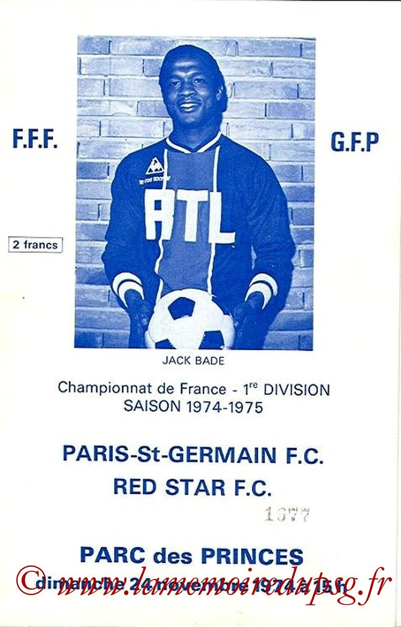 1974-11-24  PSG-Red Star (18ème D1, Officiel PSG)