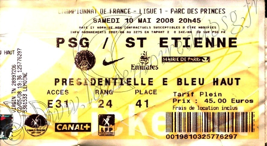 2008-05-10  PSG-Saint Etienne (37ème L1, Ticketnet)