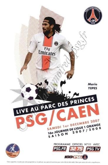 2007-12-01  PSG-Caen (16ème L1, Officiel PSG N°111)