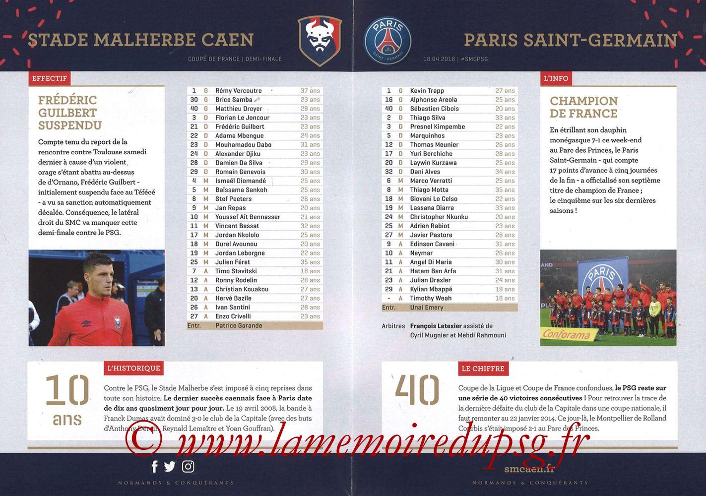 2018-04-18  Caen-PSG (Demi Finale CF, Programme officiel) - Pages 02 et 03