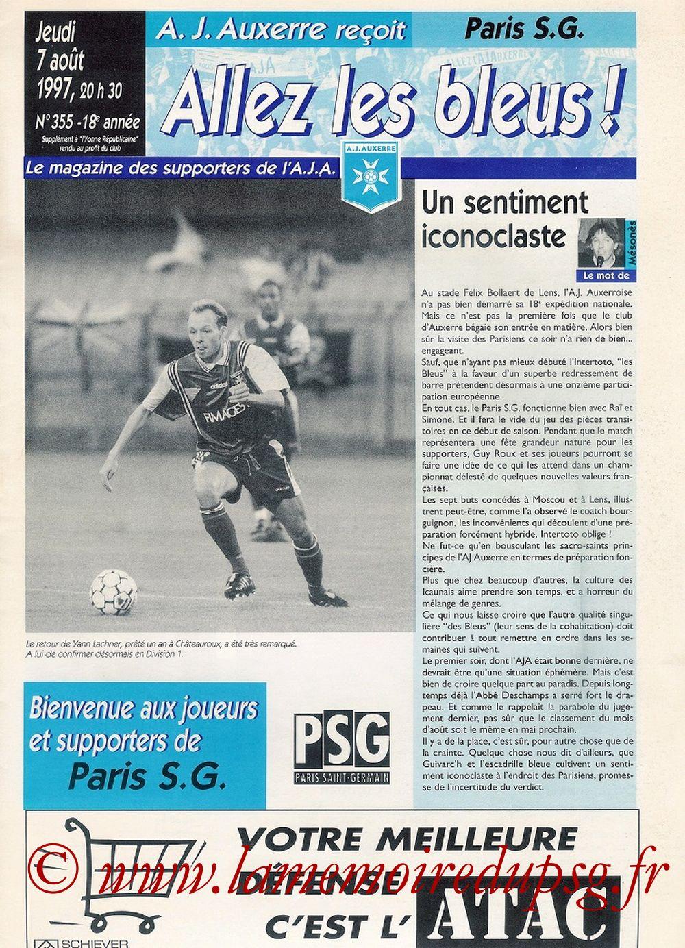 1997-08-07  Auxerre-PSG (2ème D1, Allez les Bleus N°355)