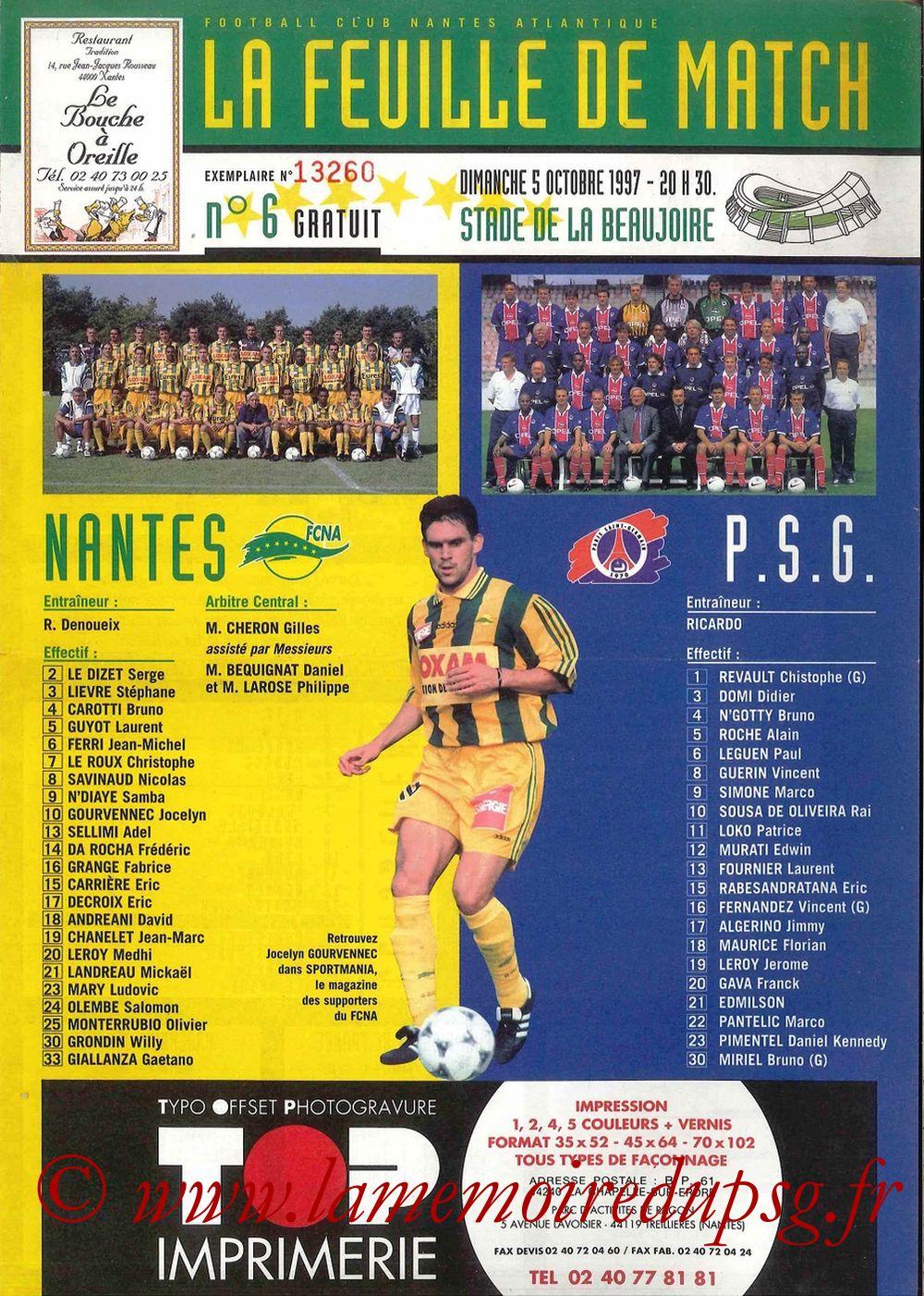 1997-10-05  Nantes-PSG (10ème D1, La Feuille de Match N°6)