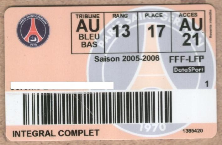 Carte d'abonné PSG 2005-06
