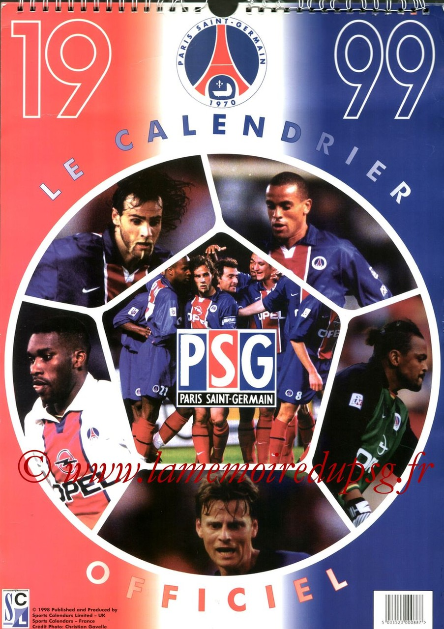 Calendrier PSG 1999 - Couverture