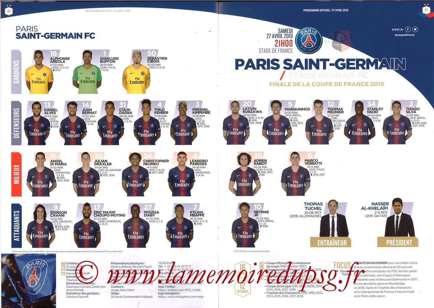 2019-04-27  Rennes-PSG (Finale CF au Stade de France, Programme officiel FFF) - Pages 16 et 17