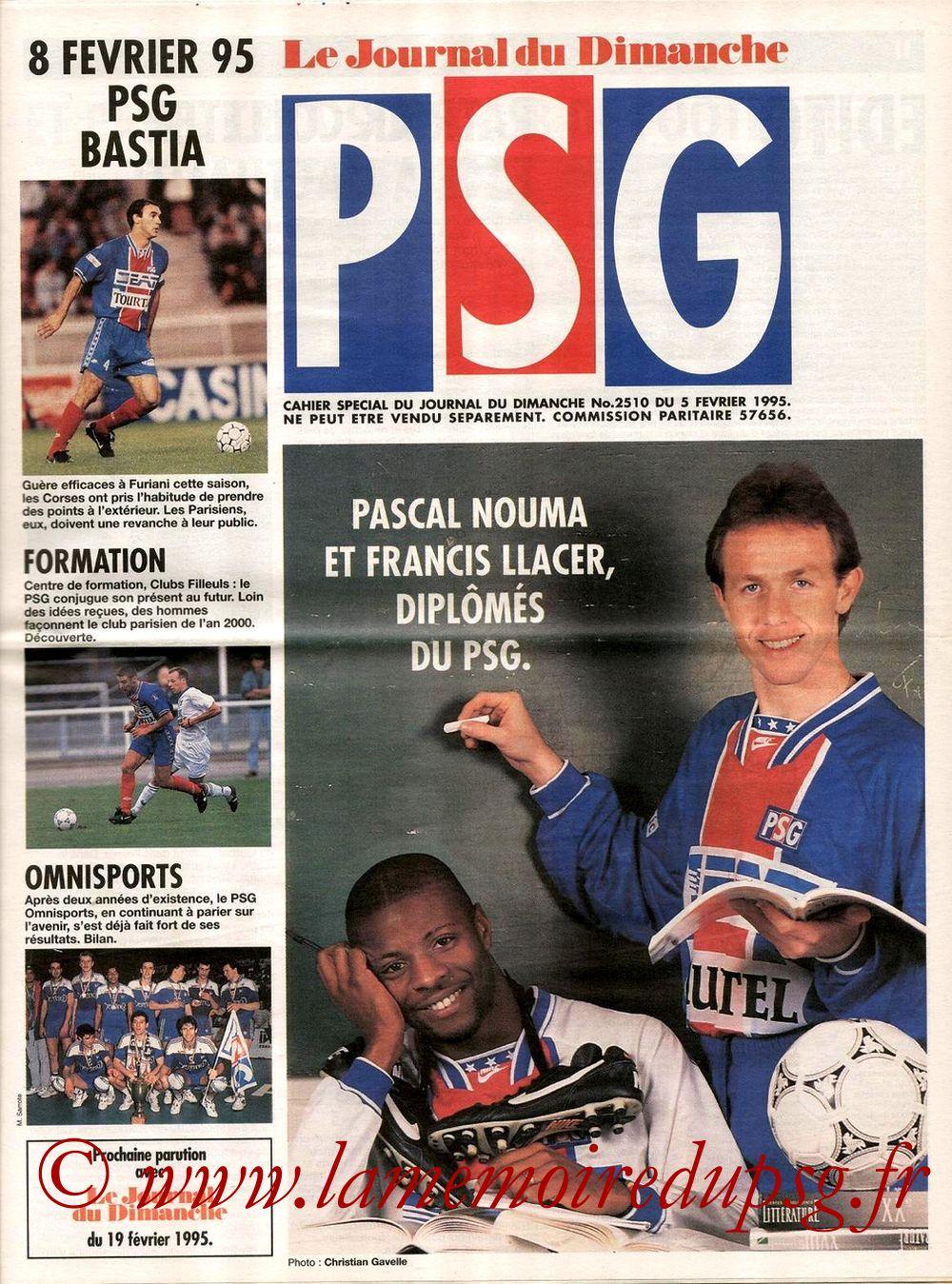 1995-02-08  PSG-Bastia (25ème D1, Le journal du PSG N°11)