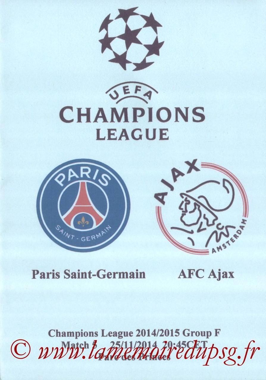 2014-11-25  PSG-Ajax (5ème Poule C1, Programme pirate)