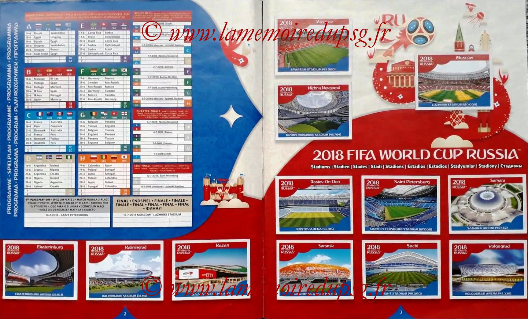 2018 - Panini FIFA World Cup Russia Stickers - Pages 02 et 03 - Calendrier et Stades