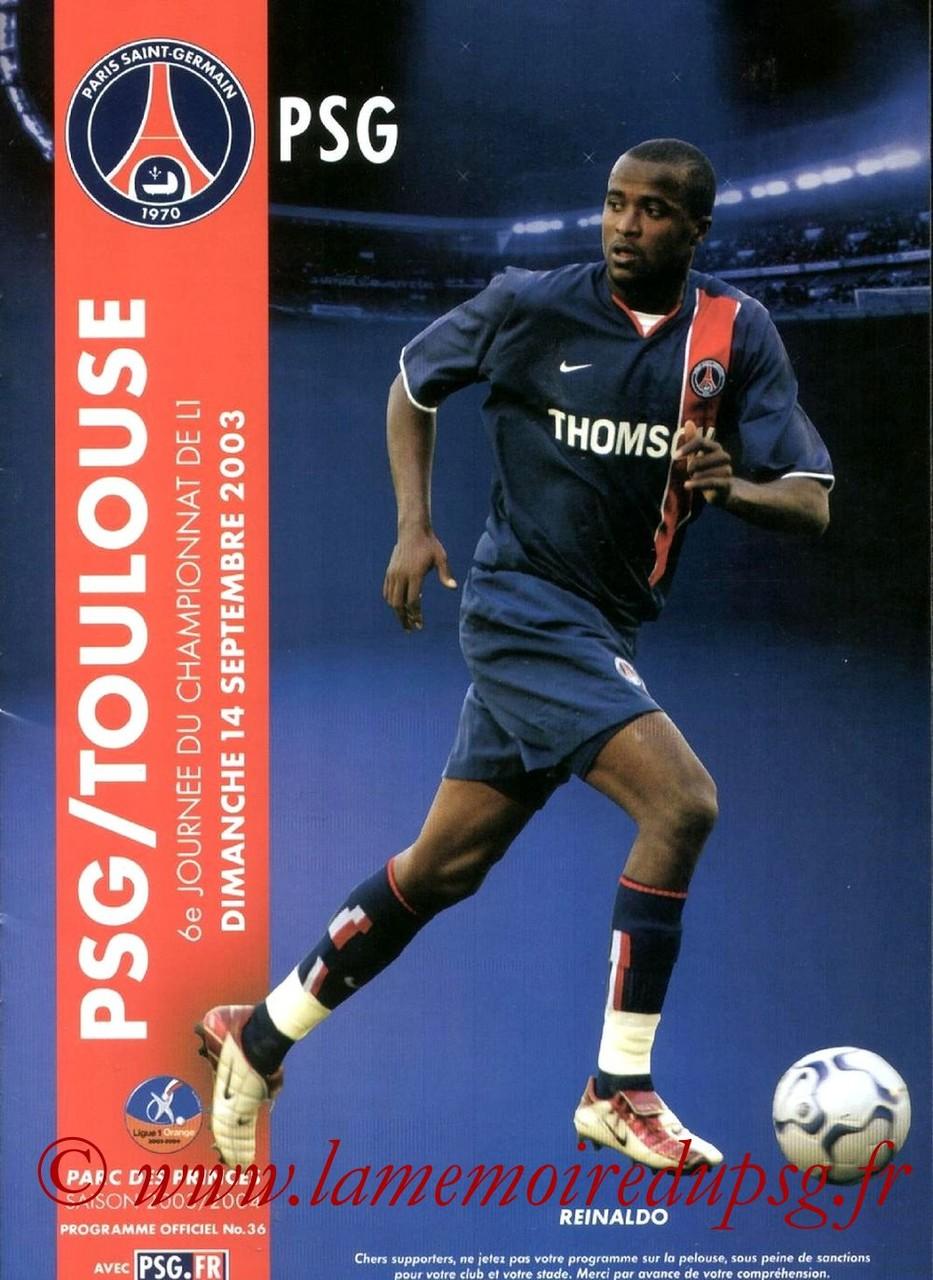 2003-09-14  PSG-Toulouse (6ème L1, Programme officiel N°36)