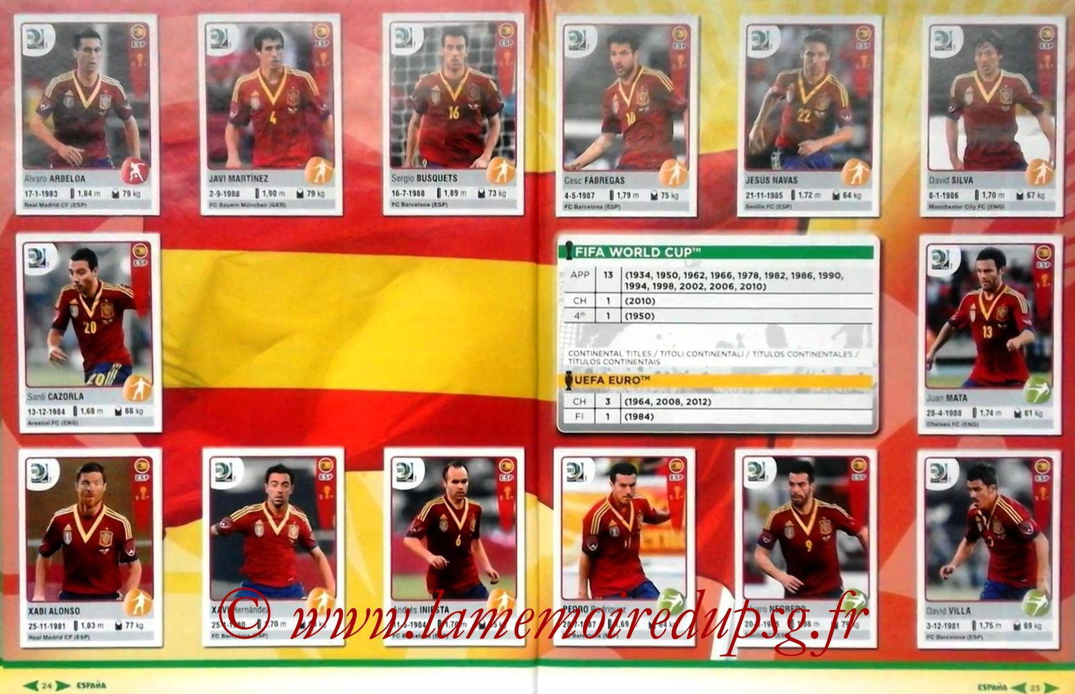 2013 - Panini Confederations Cup Brasil Stickers - Pages 24 et 25 - Espagne