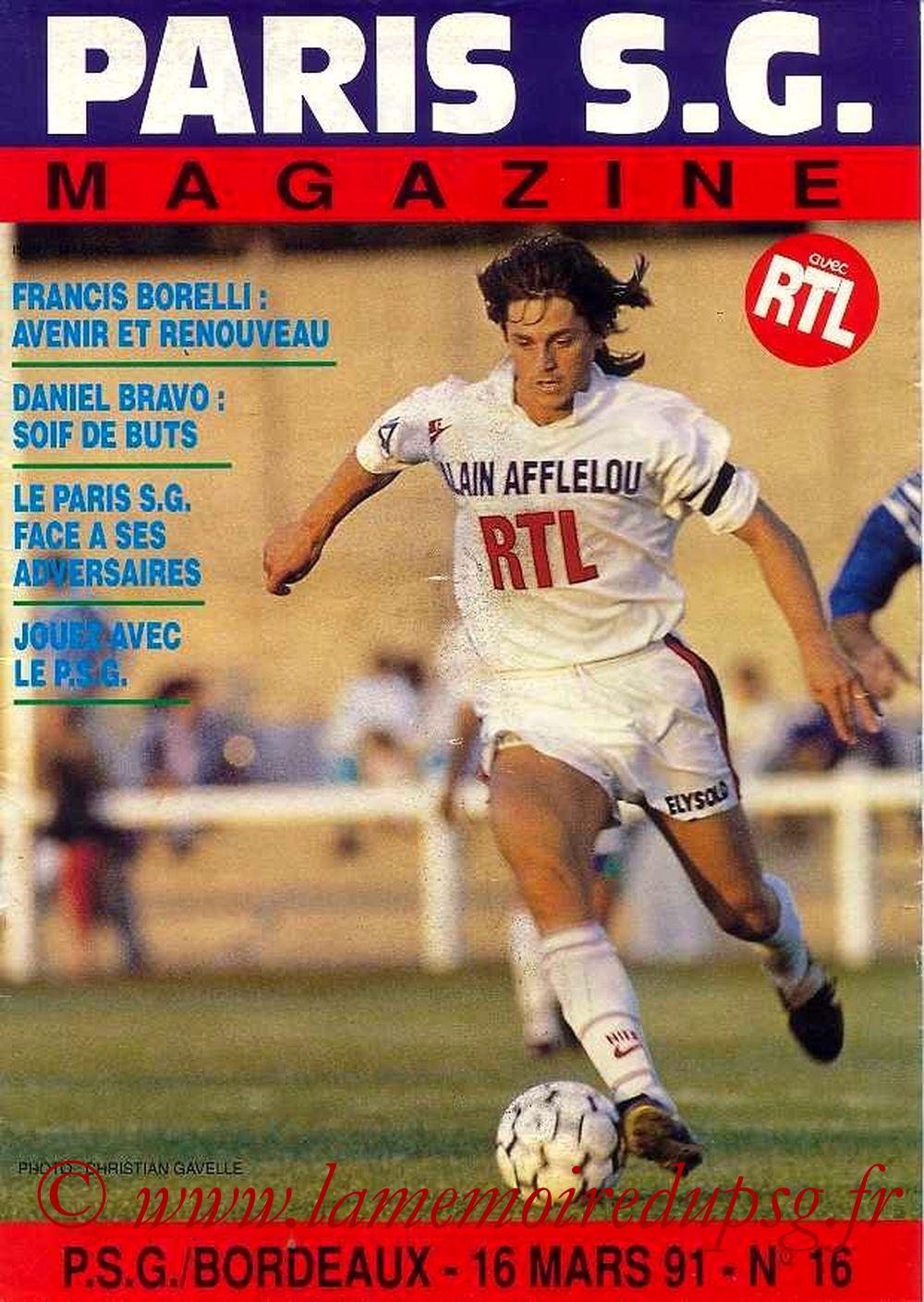 1991-03-16  PSG-Bordeaux (30ème D1, Paris SG Magazine N°16)