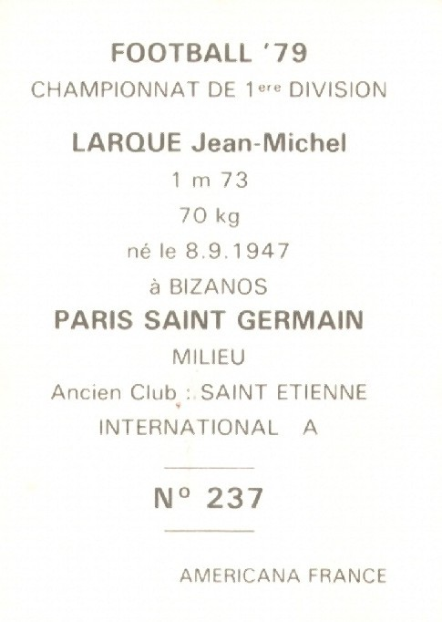 N° 237 - Jean-Michel LARQUE (Verso)