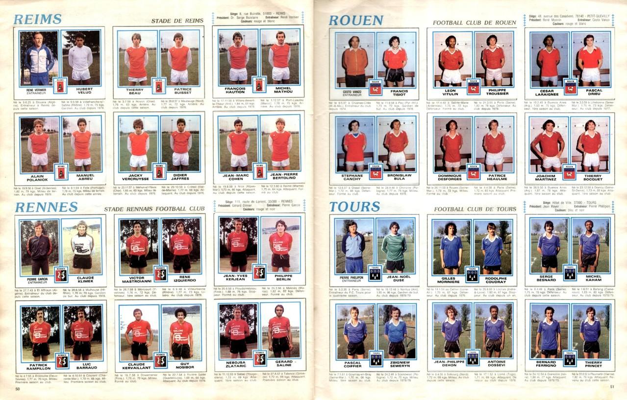 1979-80 - Panini 1980 - Pages 50 et 51 - Stade de Reims et Stade Rennais FC + FC Rouen et FC Tours