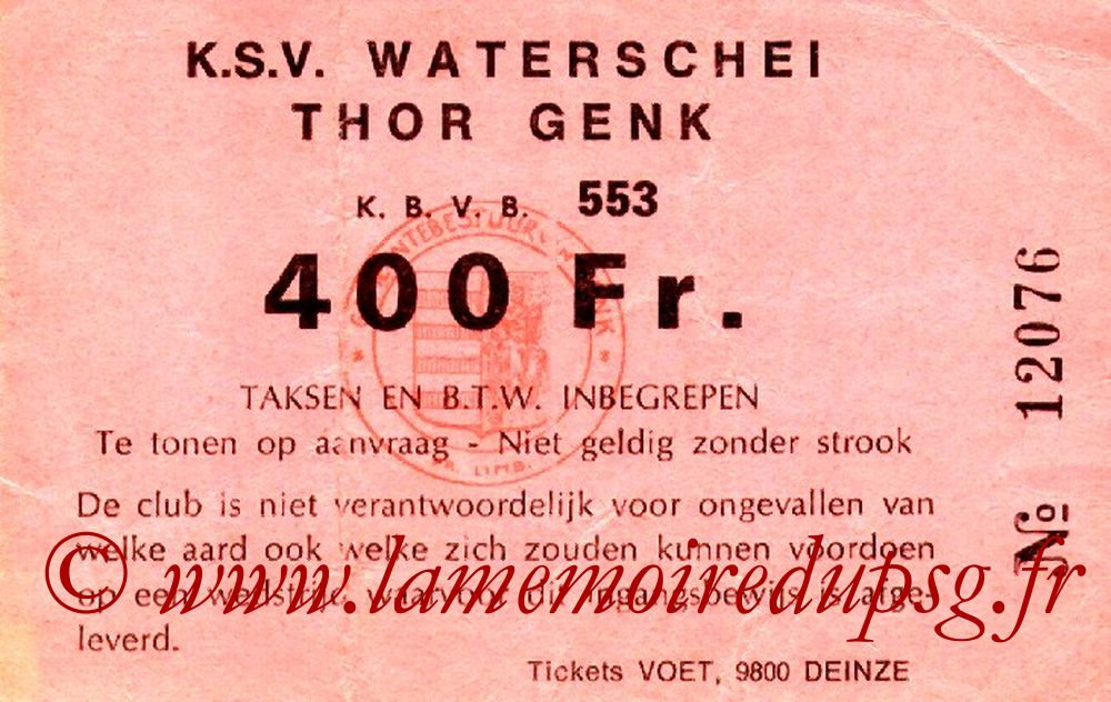 Ticket  Waterschei-PSG  1982-83