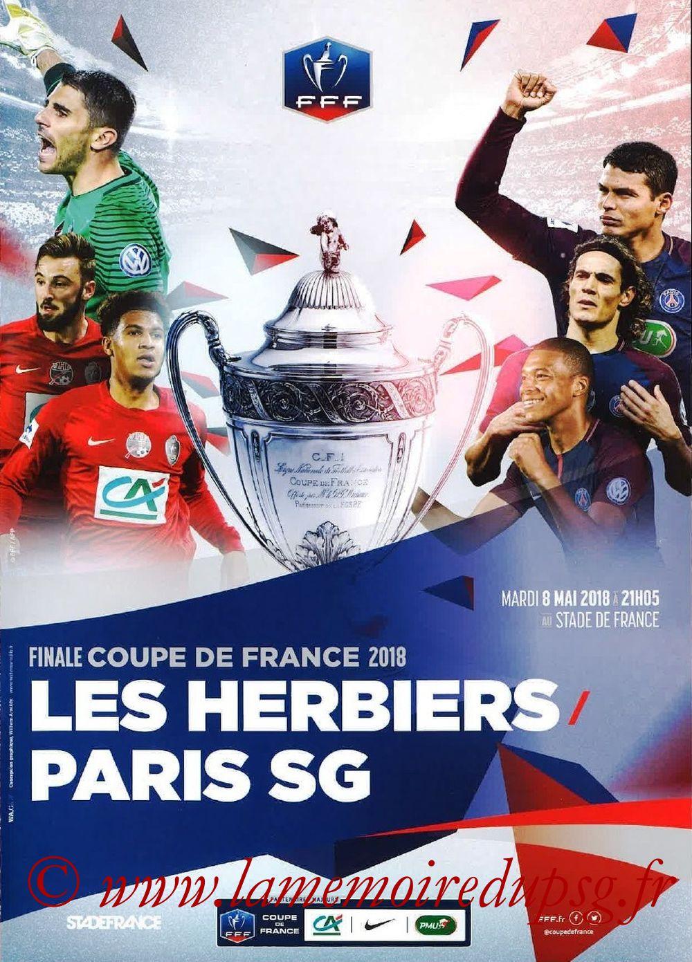2018-05-08  Les Herbiers-PSG (Finale CF à Saint-Denis, Programme officiel FFF)