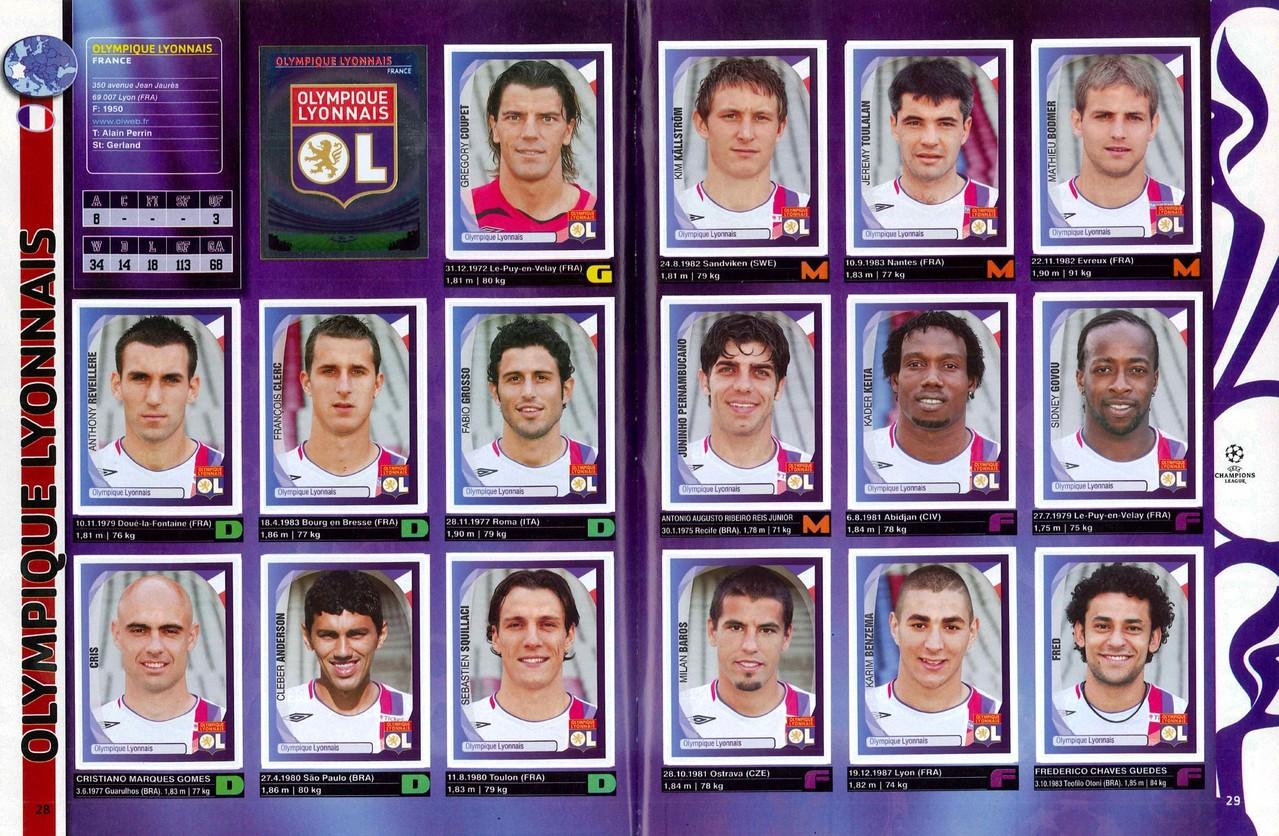 2007-08 - Panini Champions League - Pages 28 et 29 - Olympique Lyonnais