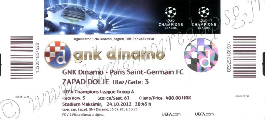 2012-10-24  Dinamo Zagreb-PSG (3ème Journéee Poule C1)