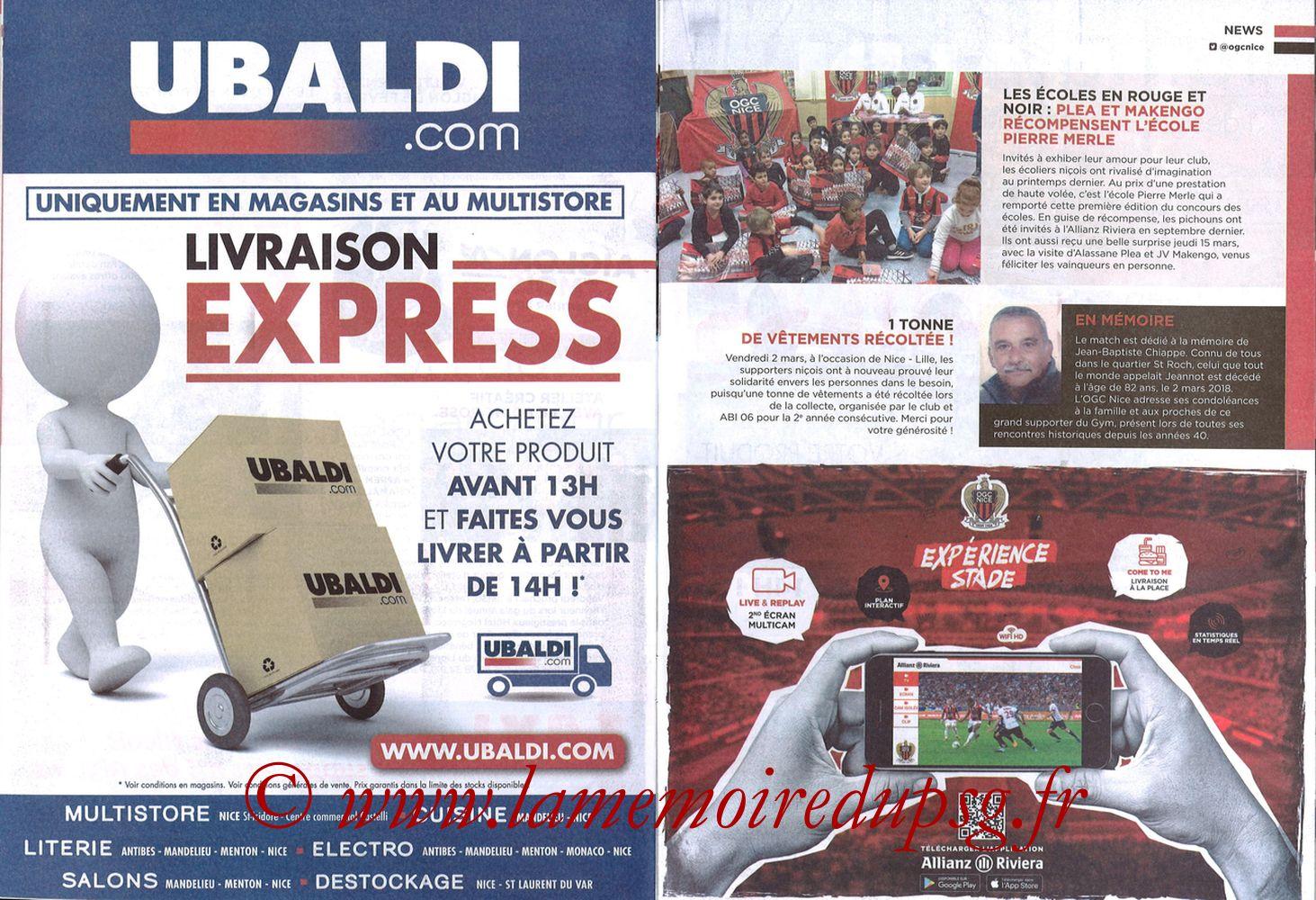 2018-03-18  Nice-PSG (30ème L1, OGC Nice Mag N°306) - Pages 22 et 23