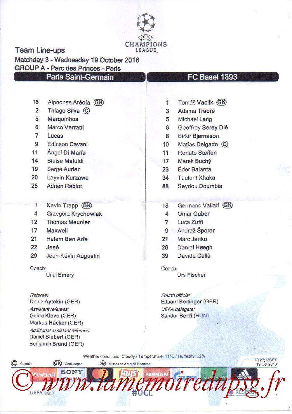 2016-10-19  PSG-Bale (3ème C1, Feuille de match)