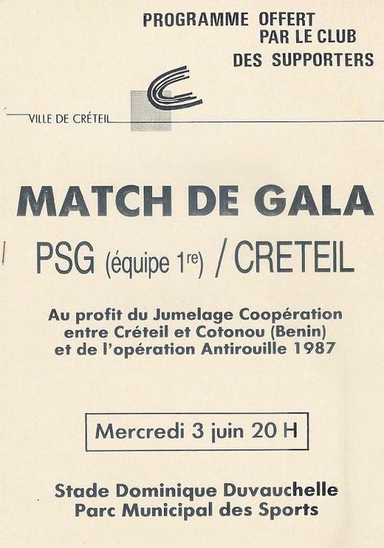 1987-06-03  Creteil-PSG (Amical à Creteil, Programme officiel)